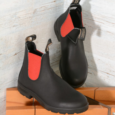 BLUNDSTONE 508 EL SIDE BOOT BLACK RED ELASTIC
