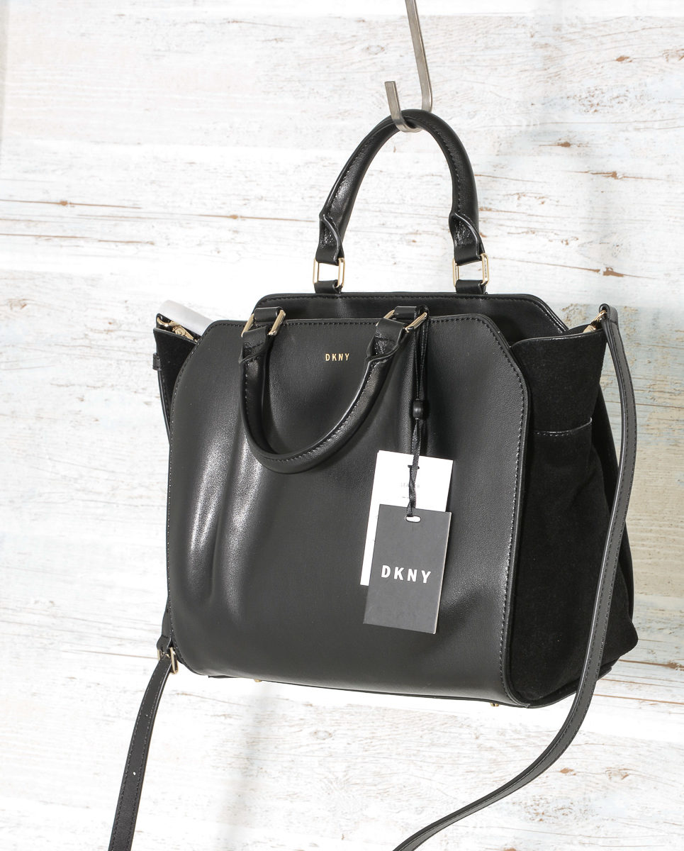DKNY Handbags Fall 2017 Small Satchel Black R3140100 with suede (5)