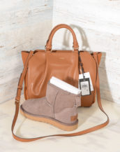 DKNY Handbags Fall 2017 Small Satchel Camel R3140100 with suede (2)