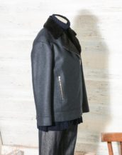 Harris Wharf London Style A3414MLK-F Women long biker jacket Pressed Wool & Faux Fur