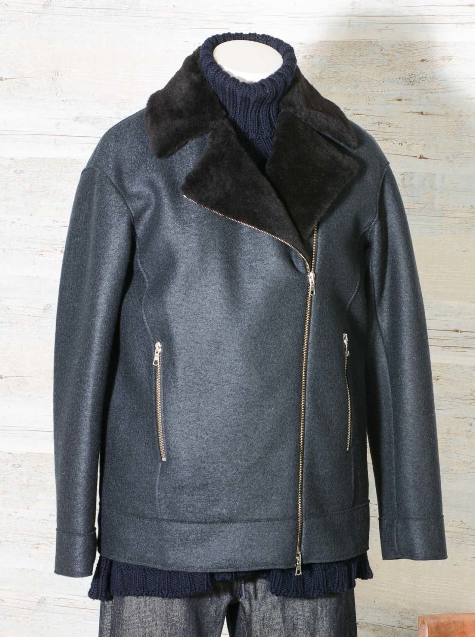 Harris Wharf London Style A3414MLK-F Women long biker jacket Pressed Wool & Faux Fur-5
