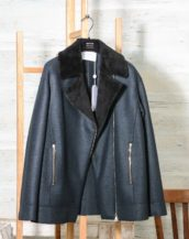 Harris-Wharf-London-Style-A3414MLK-F-Women-long-biker-jacket-Pressed-Wool-Faux-Fur