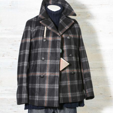 Peacoat donna Camplin in lana checks, caban doppiopetto fantasia a scacchi