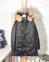 Parka Donna ADD nero KAW663 in piuma d'oca bordato in pelliccia