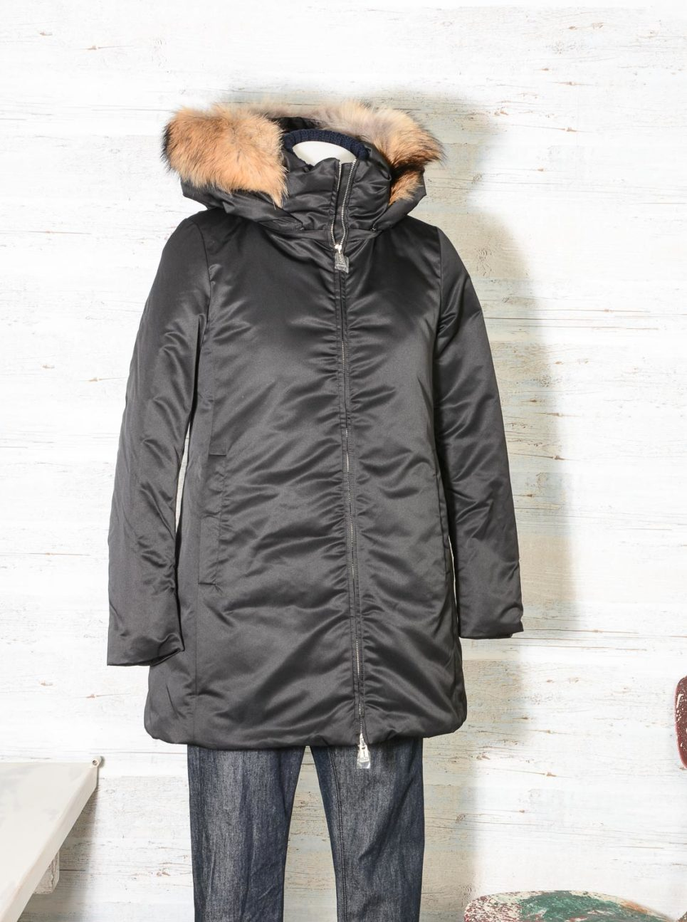 Parka Donna ADD nero KAW663 in piuma d'oca bordato in pelliccia -7