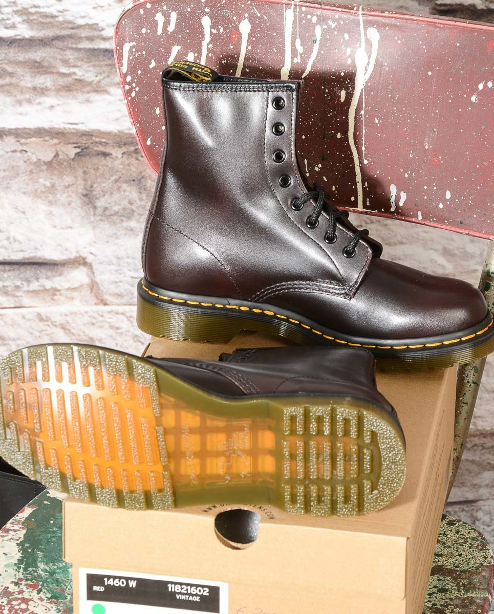 Red Vintage DrMartens 1460 Woman Boots -3