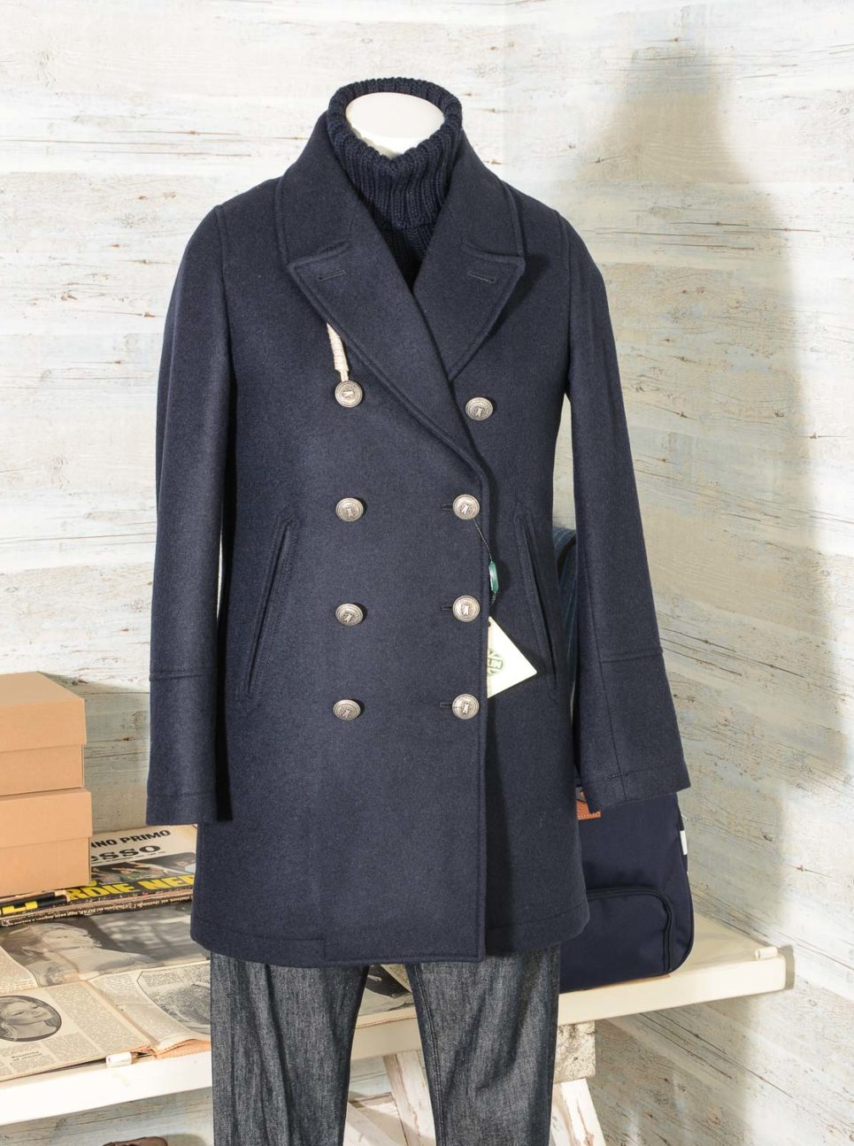 Miss Accademy Camplin Peacoat lungo donna blu in misto lana -4