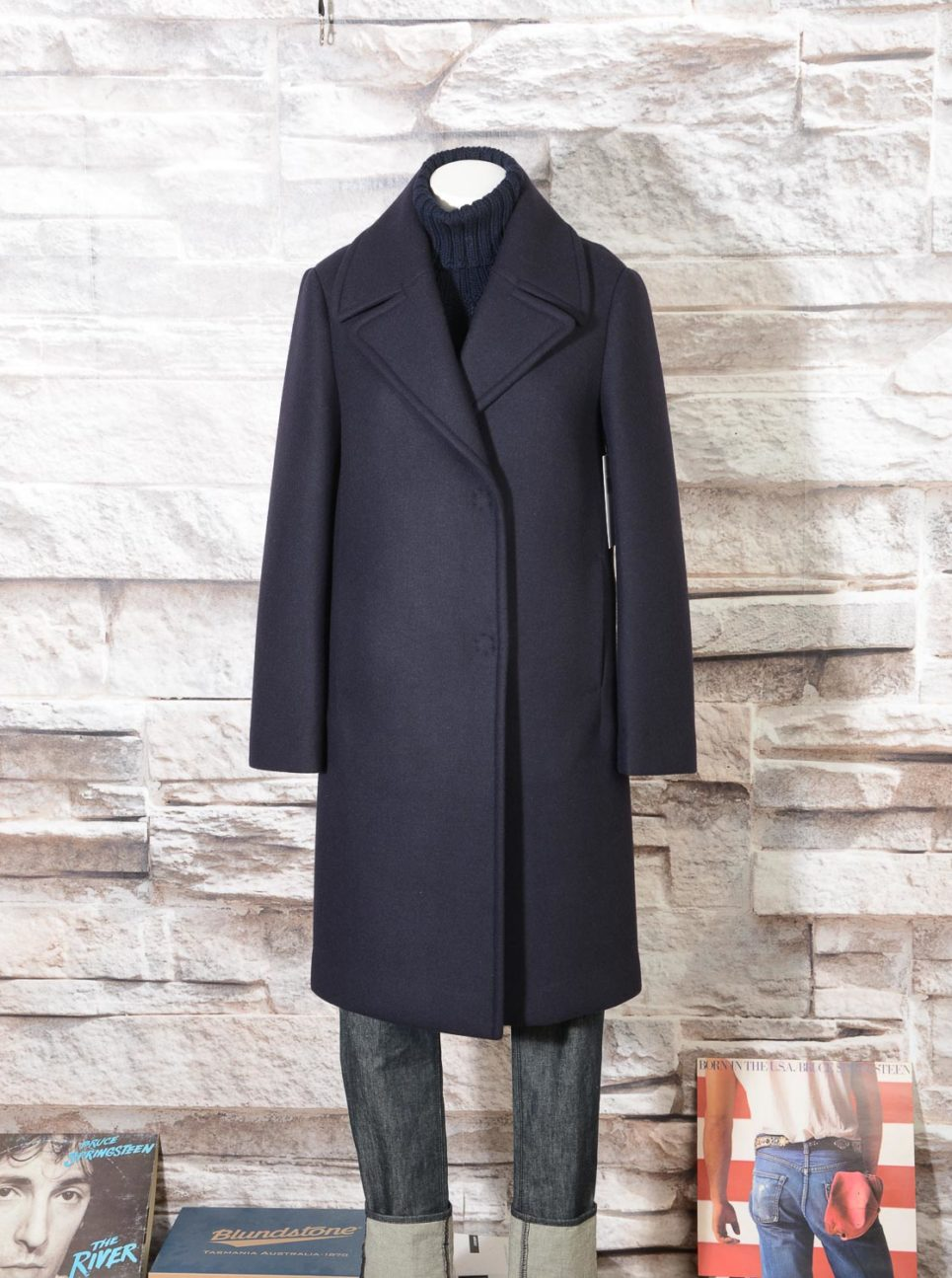 Cappotto Blu Navy in misto lana DKNY Donna Karan New York N365005A4B 414 -11