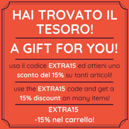 With the promo code EXTRA15 you are entitled to a 15% discount on the cart on many products (even those already on sale!) All you have to do is add it to the cart before payment (uppercase or lowercase is the same, or you can copy and paste from here) (Some Brands or Items are excluded from the Promotion. A minimum expense may be required)