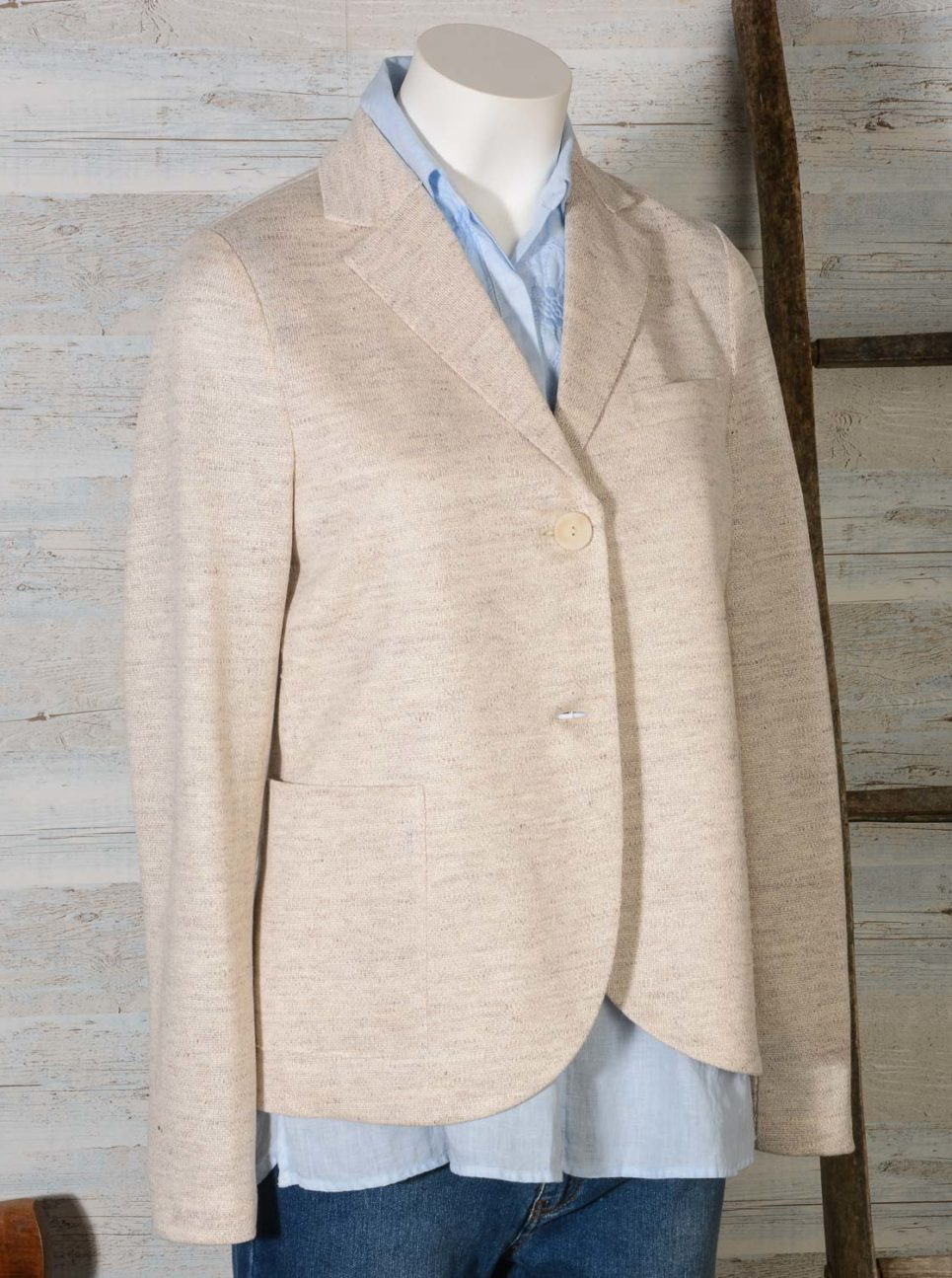 Blazer donna due bottoni in lino Jaspè HARRIS WHARF LONDON A3220PDD 101 Off White -7