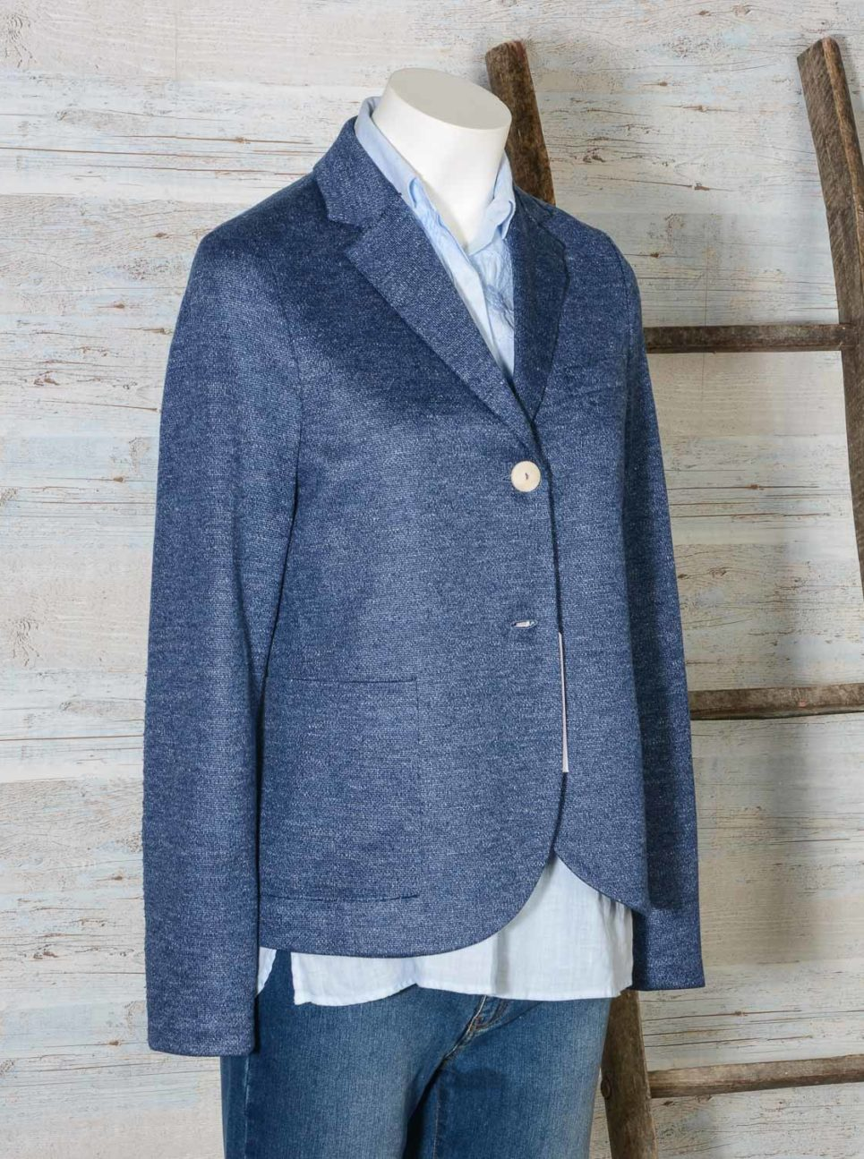 Blazer donna due bottoni in lino Jaspè HARRIS WHARF LONDON A3220PDD 355 Denim -10