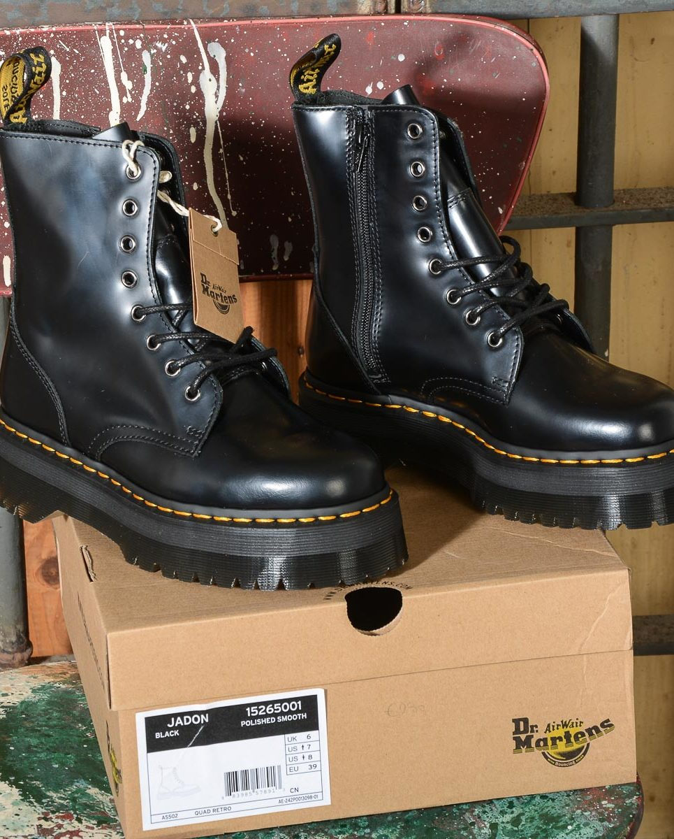 Jadon Black Polished Smooth 15265001 Stivale donna 8 fori Dr Martens -12