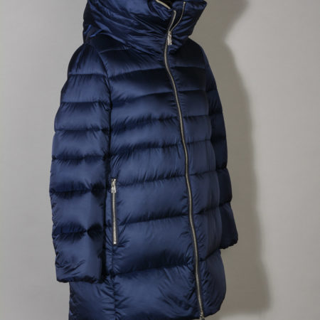 Giaccone donna ADD WAW556 HOODED DOWN JACKET trapuntato imbottito in piuma d'oca colore Blue Royal