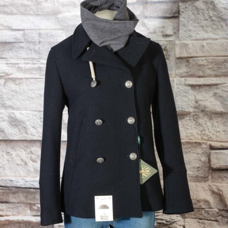 Miss Navy Peacoat donna Camplin in lana blu scuro Rain Wool resistente all'acqua