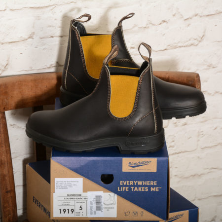 Stivale donna Blundstone 1919 EL SIDE BOOT BROWN LEATHER MUSTARD EL BROWN W MUSTARD ELASTIC pelle marrone elastico giallo-ocra, calzata donna