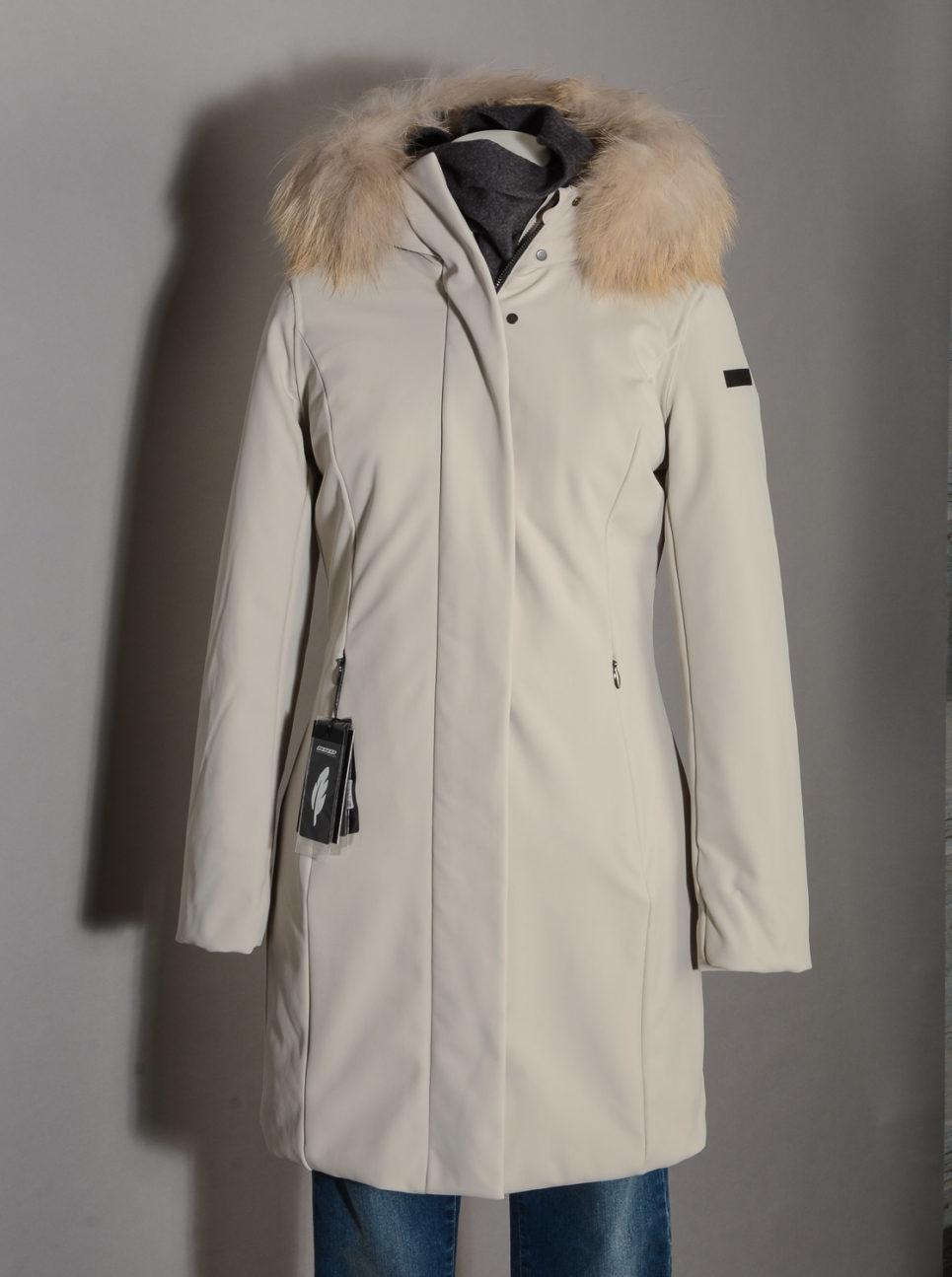 Winter Long Lady Fur T W19501FT Parka Donna RRD con Pelliccia colore 83 Ecru Sabbia -14