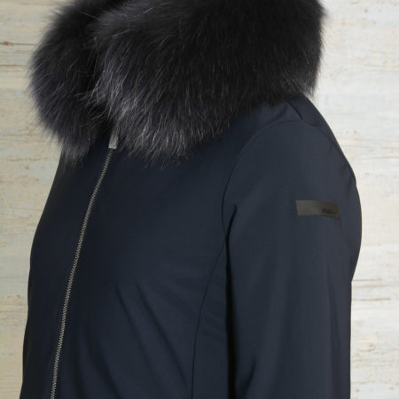 Cappotto donna RRD con pelliccia LIGHT WINTER COAT LADY FUR T W19560FT colore blu scuro 60 Blue Black