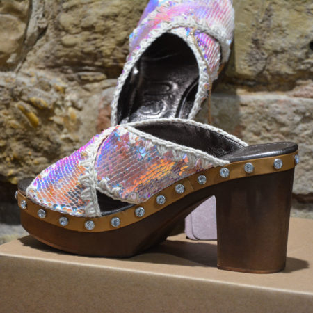 Sandali donna MOU CRISS-CROSS HIGH HEEL WOOD SEQUINS UPPER Iridiscent Sequins Beige