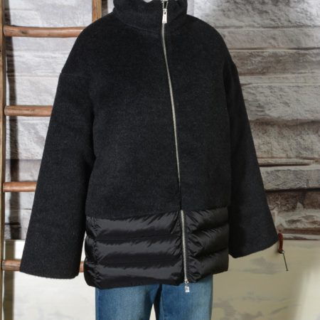 Giacca Piumino donna ADD con lana e mohair 2AWF96S Black JACKET WITH DOWN